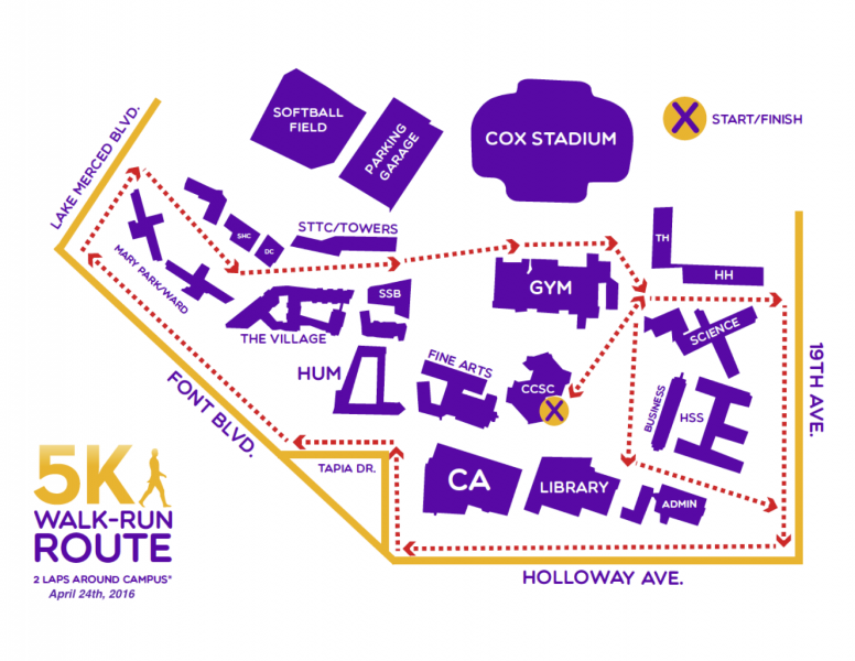 map showing route of campus 5K run